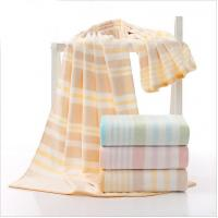 Quality Velour Cotton Bath Towels / Spa Striped Beach Towels High Water - Absorbing for sale
