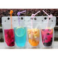 Quality Lemonade / Cold Drinking Resealable Zip Lock Clear Stand Up Pouch With Straw for sale