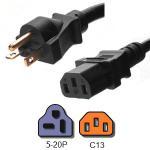 Quality 20A 125V UL Listed Plug Power Cord , NEMA 5 20P to IEC 60320 C13 AC Power Cord for sale