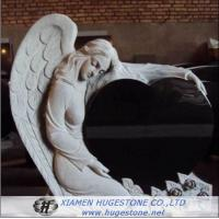Quality Black Granite Tombstone with Delicate Lace, Elegant Goddess Lying on  for sale