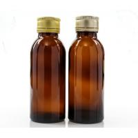 China 100ml Amber Glass Oral Liquid Bottle With Colors Metal Cap,Syrups Bottle on sale
