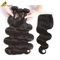 Quality 8a Body Human Hair Weave Bundles 1b Colored 8 - 32inch With Lace Closure for sale