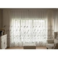 Quality Country Style white window curtains , Embroidered modern bedroom curtains for sale