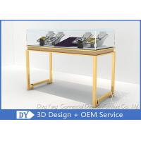 Quality Beauty Practicability Glass Jewelry Showcases With Dis - Assembly Gold Legs for sale