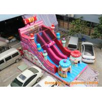 Quality inflatable combo fun games with used commercial inflatable bouncers pink slide for sale