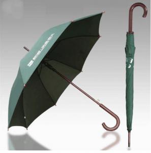 Quality Easy Open Wooden Handle Umbrella , Unbreakable Folding Umbrella With Hook Handle for sale