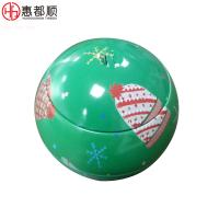 Quality wholesale custom printing christmas tin ball box candy metal container for sale