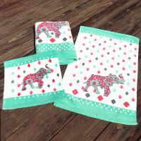 Quality Customize Artiliv Cotton Bath Towels Sets With Elephant Printed Satin Small Square for sale