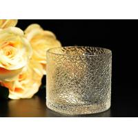 Quality Leaf Pattern decorating clear glass candle holders for wedding , 18oz for sale