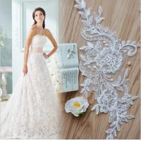 Quality Apparel  Accessories Ivory  Embroidery  Cord Lace Applique for Bridal Dress for sale