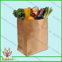 Buy Brown Kraft Custom Paper Bags Recyclable Durable For Fruit at wholesale prices