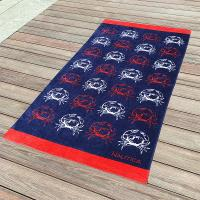 Buy Crab Fitted Colorful Printed Beach Towels , Microfiber Male Beach Towels at wholesale prices