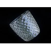 Buy Diamond Shape decorative candle holders Embossed glass tealight candle holders at wholesale prices