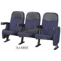 Quality Blue Or Red Cinema Theater Chairs , Movable PP Armrest Fold Up Fabric Auditorium Chairs for sale