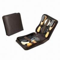 Quality Shoe shine set, made of PU leather and wood for sale