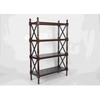 Quality 144CM Walnut Soild Wooden Book Rack Four Tiers For Living Room Corner Storage for sale