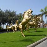 Quality Decorative giant copper golden fat horse statue, bronze horse statue for sale