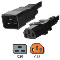 Quality IEC 60320 C20 to C13 PDU Power Cord 3 Pin 15 Amp 250V 14 AWG / 3 SJT for sale