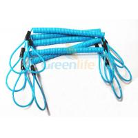 Quality Blue Coil Tool Lanyard Elasticated Spring Tool Tether With Double Loop Ends for sale
