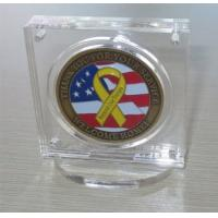Military Challenge Coin Poker Chip Display Case Holder with Stand, Clear Acrylic with Magn