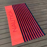 Quality Bluk Black And Red Striped Towels / Soft Monogrammed Beach Towels for sale