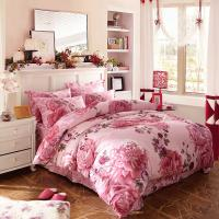 Quality Luxury 4 Piece Cotton Bedding Sets King Size / Twin Size Embroidered Flower for sale