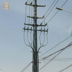 Quality 19M 6000daN Tubular Steel Pole , Galvanised Steel Davit Arm Transmission Pole for sale