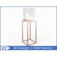 Quality OEM manufacturing high end stainless steel museum pedestal display case with led spot lights for sale