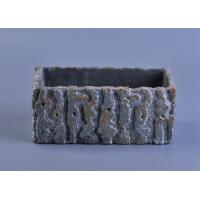 Quality rough surface long square cement concrete candle holder with embossed pattern for sale