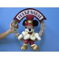 Quality Mickey Mouse Disney Plush Toys with Wreath / Christmas Holiday Stuffed Toys for sale