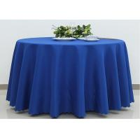 Quality Dark Blue Wedding Textile Round Linen Table Cloths , 90 / 108 Inch Round Tablecloth for sale