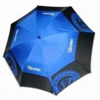 Quality Double-layer Windproof Golf Umbrella with 14mm Black Fiberglass Shaft, Auto Open for sale