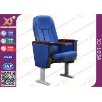 Quality Soild Wood Armrest Blue Fabric Conference Hall Chairs With Aluminum Feet for sale