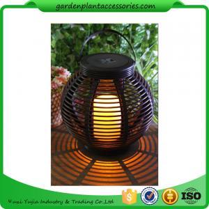 Quality Medium Round Outdoor Rattan Solar Lantern With 2V / 80MA Solar Panel for sale