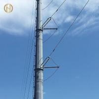 Quality Self Support Galvanised Power Pole 132KV 138KV 32m 60-90 Degree for sale
