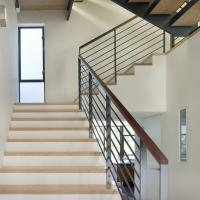Quality Stainless steel stair balustrade with wooden handrail solid rod design for sale