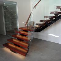 Quality Hot Sale Modern Internal Staircase Walnut Stair Treads Staircase with Glass Railing for sale