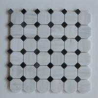 Quality Arabescato Carrara White Italian Stone Mosaic Tile With Octagon Black Dots for sale