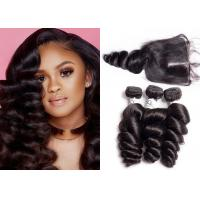 China Unprocessed Brazilian Loose Wave Hair Weave With Lace Closure Double Sewed Weft on sale