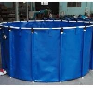 Quality 2M*1M 5000L Tarpaulin Fish Tank / Folding Round Fish Pond For Aquaculture for sale