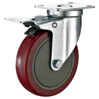 """Buy cheap 5""""X1-1/4"""" Industrial Trolley PU Caster Wheel With Total Locking Brakes Heavy from wholesalers"""