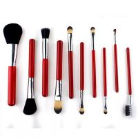 Buy cheap Christmas Gift Cosmetic Brush Set Red Color Aluminum Ferrule Material Customized from wholesalers