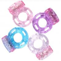 Buy Popular rubber Penis Vibrating Cock Ring in foil bags , pink blue black at wholesale prices