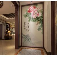 Quality Peony Leaf Faux Leather Wall Covering Bamboo Fiber 3D Decorative Wall Panels for sale