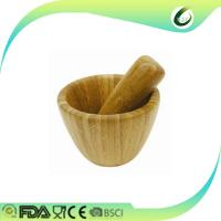 Quality Formaldehyde Free Bamboo Mortar And Pestle Kitchen Garlic Pugging Pot for sale