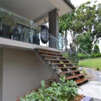 Buy cheap Clear Glass Panel Fixed with steel polish spigots design railing system from wholesalers