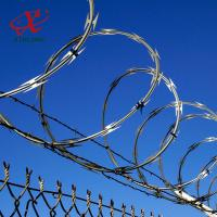 Quality Farm / Airport Razor Blade Barbed Wire With Electric Or Hot Dipped Galvanized Surface Treatment for sale