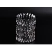 Quality Crystal Round Sunken Surface Glass Candle Jar Glass Candlestick Holders for sale