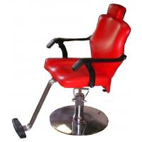 Hydraulic Pump Red Barber Chairs Round Base For Cutting Hair , Pu Armrest