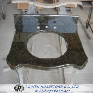 Quality Olive Green Granite Sink Countertop, Bathroom Sink Countertops for sale